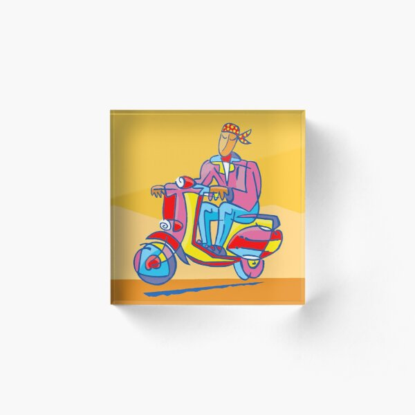 YELLOW SCOOTER by Tim Davies Acrylic Block