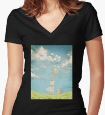Millie's Journey : Boundless Sky Women's Fitted V-Neck T-Shirt