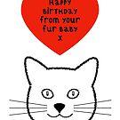 Cat Fur Baby Birthday Greeting by Adam Regester