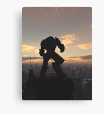 Future City - Robot Sentinel at Sunset Canvas Print