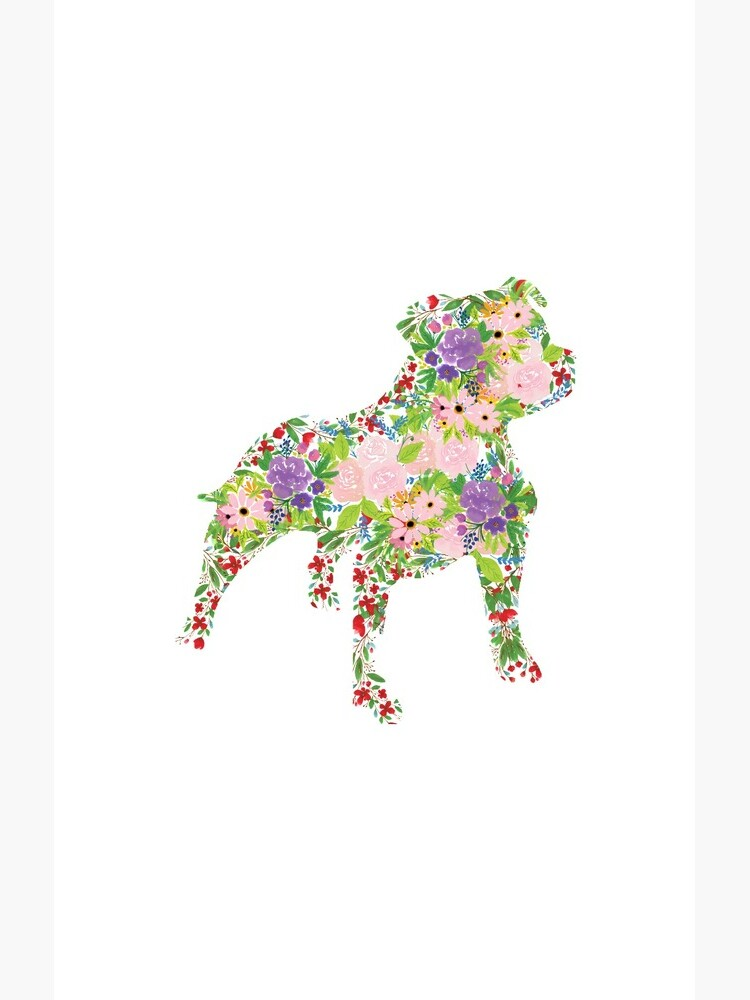Floral Staffordshire Bull Terrier by tribbledesign