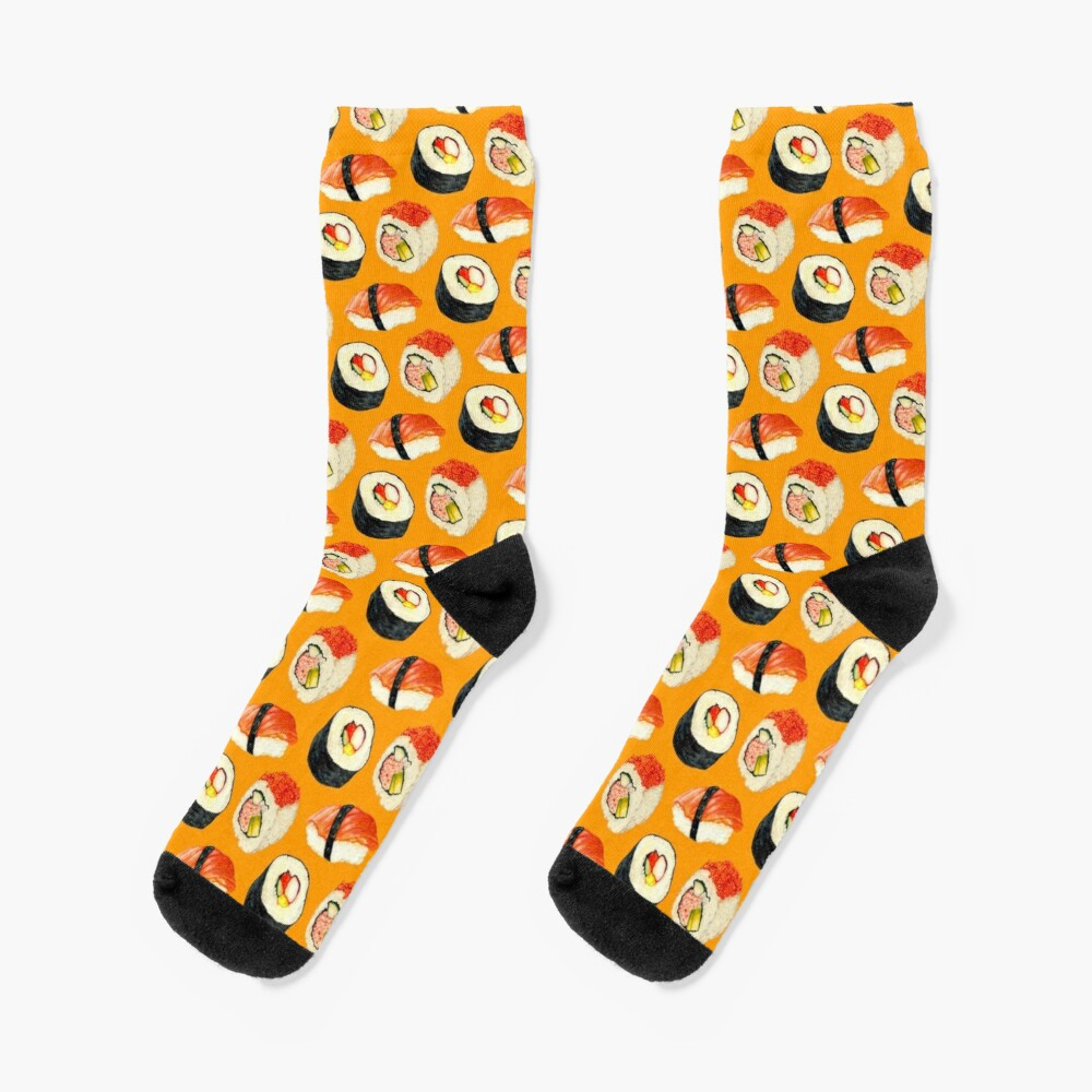 Sushi Pattern - Orange Socks