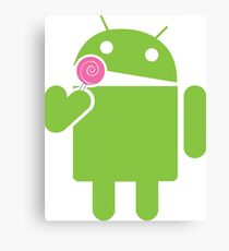 Android eats a lollipop Canvas Print