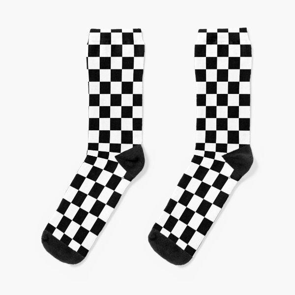 Checkered Flag. Chequered Flag. Motor Sport. Checkerboard. Pattern. WIN. WINNER.  Racing Cars. Race. Finish line. BLACK. Socks