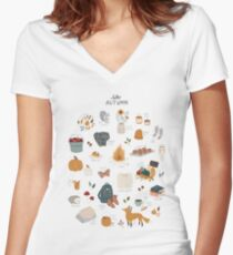Hello Autumn Fitted V-Neck T-Shirt