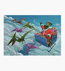 christmas dinosaur santa ride Photographic Print