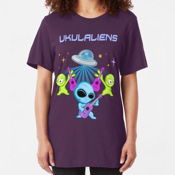 Ukulaliens Ukulele Club Original Logo With Text Slim Fit T-Shirt