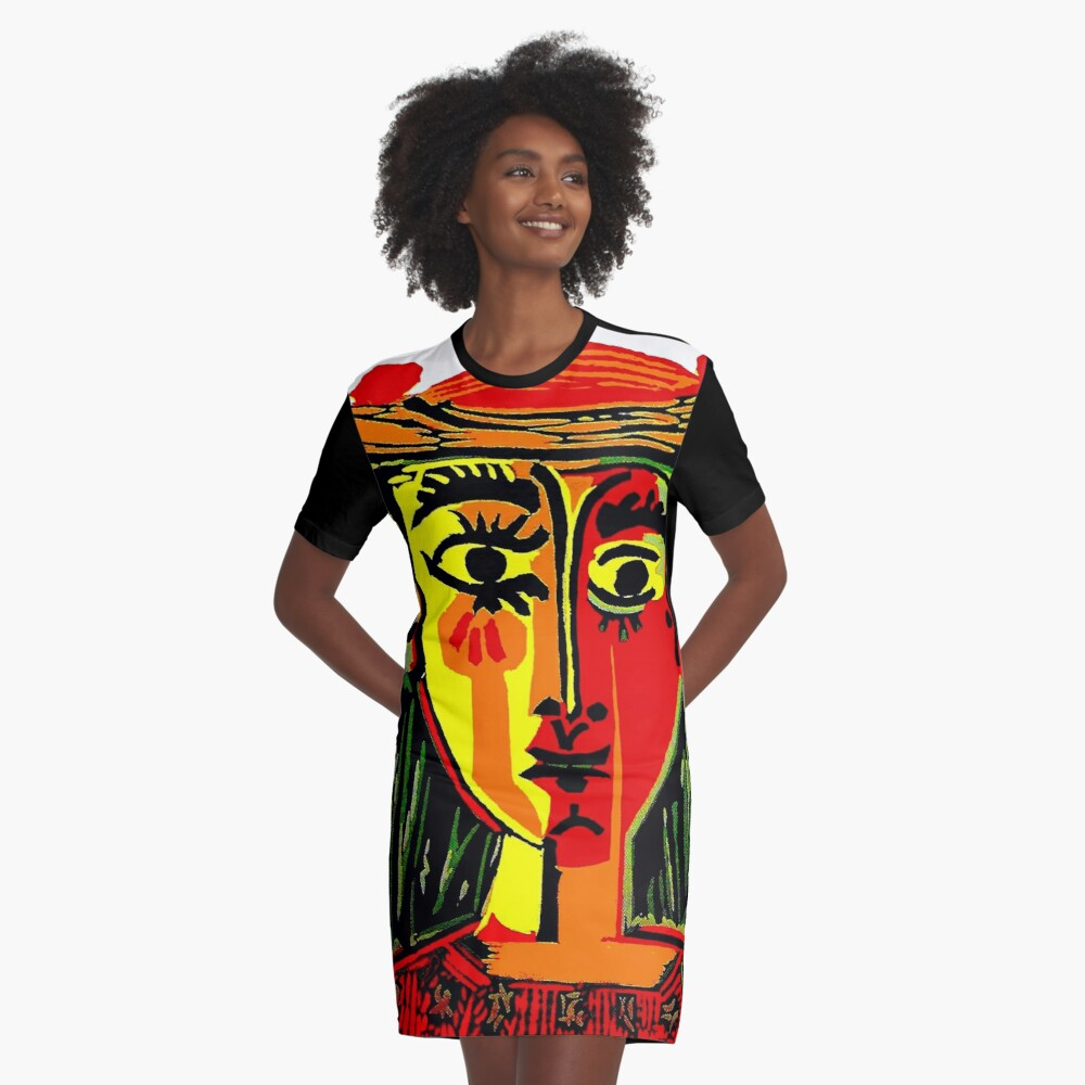 LADY in RED : Vintage Abstract Fantasy Painting Print Graphic T-Shirt Dress