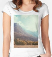 Mountains in the background V Women's Fitted Scoop T-Shirt