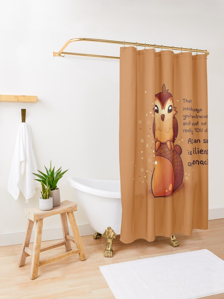 "Alternate view of ""All I Can See is Resilience"" Tiny Acorn Owl Shower Curtain"