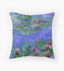 1914-1919 Water lilies, Red, oil on canvas. Claude Monet Throw Pillow