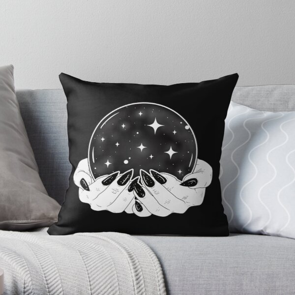 Crystal Ball - Witch Hands Throw Pillow