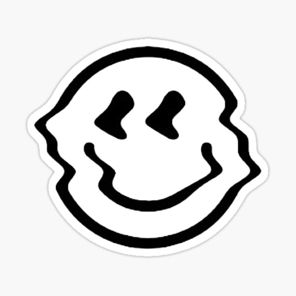 distorted smiley face - black and white Sticker