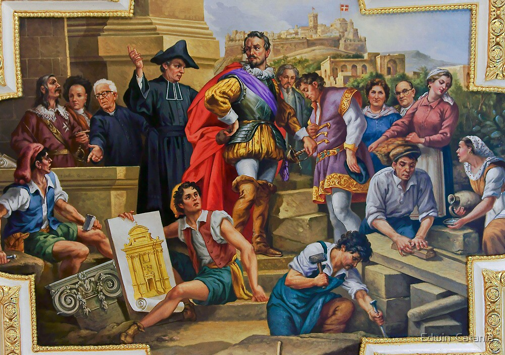 Gozitans welcoming the new Ruler (Basilica of St George Gozo) by Edwin  Catania