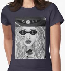 Steam hippy black and white Womens Fitted T-Shirt