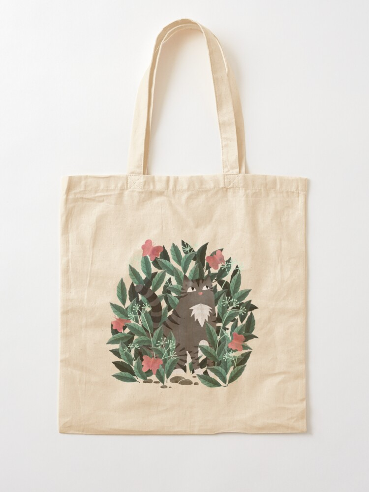 Alternate view of Butterfly Garden (Tabby Cat Version) Tote Bag