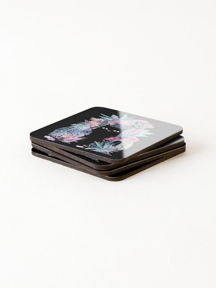 Alternate view of Popoki (Pastel Black Velvet) Coasters (Set of 4)