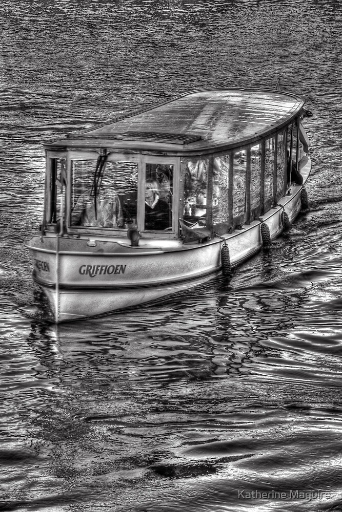 Tourist boat on the Amstel River by Katherine Maguire