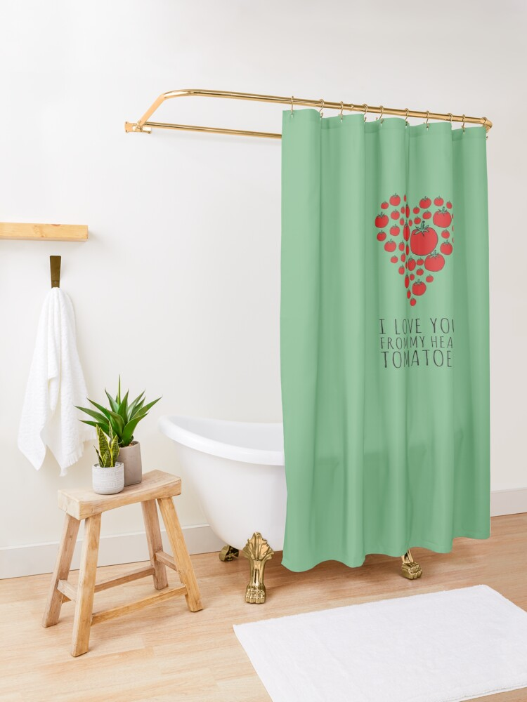 Alternate view of I LOVE YOU FROM MY HEAD TOMATOES Shower Curtain