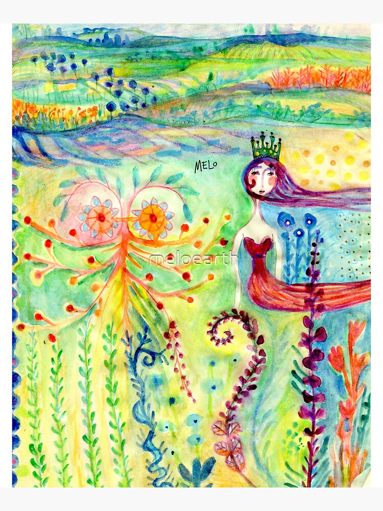 Colorful Mermaid Princess, Flowers Floral Curly Water Abstract Landscape by meloearth