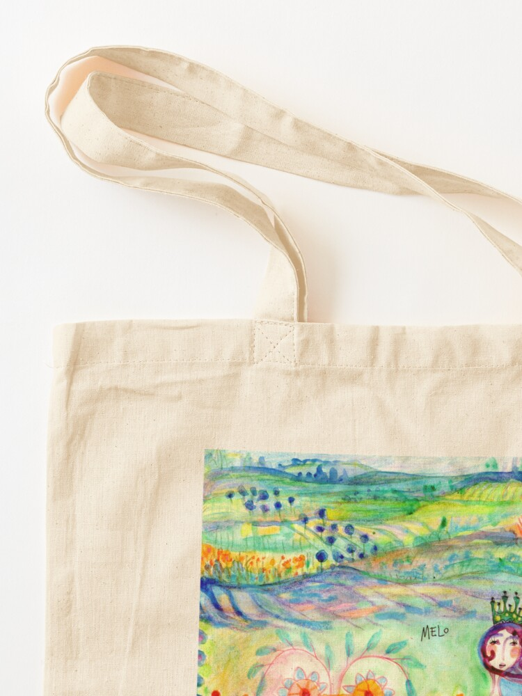 Alternate view of Colorful Mermaid Princess, Flowers Floral Curly Water Abstract Landscape Tote Bag