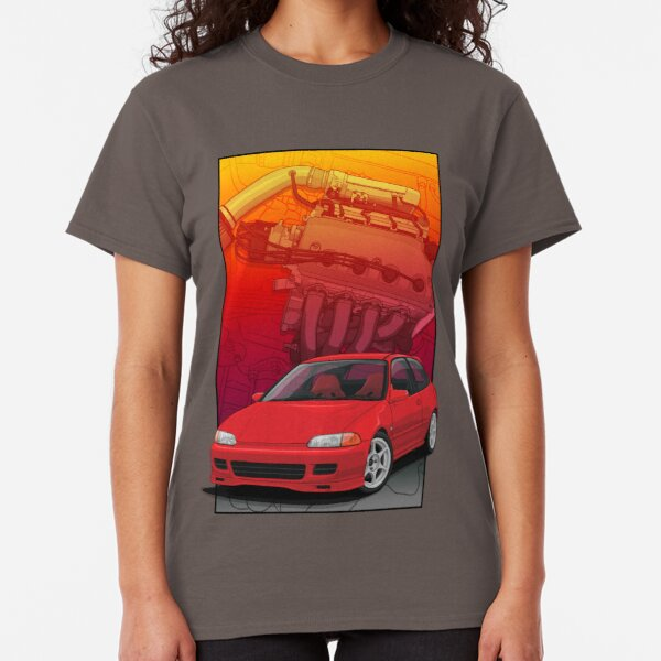 Civic EG hatch with a D16 backdrop Ver2 Classic T-Shirt
