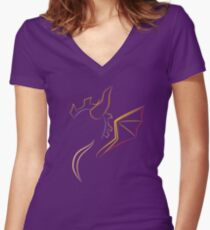 The purple Dragon Women's Fitted V-Neck T-Shirt