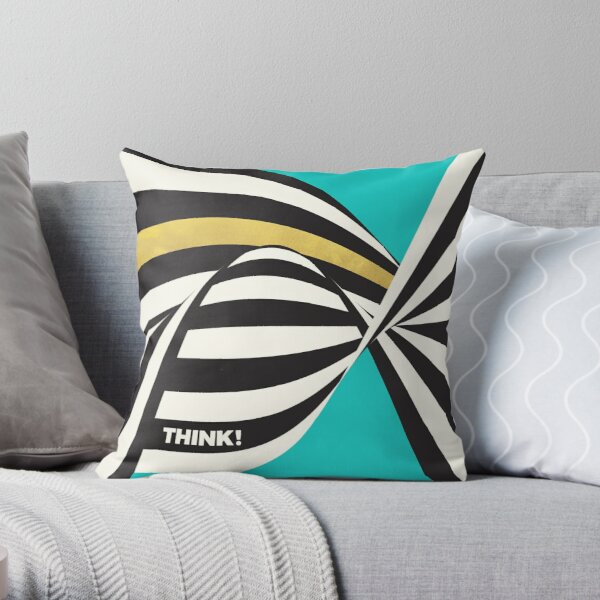 THINK! – Wavy Stripes on Luxury Blue Throw Pillow