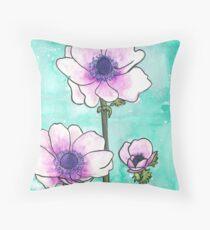 Purple Anemones Throw Pillow