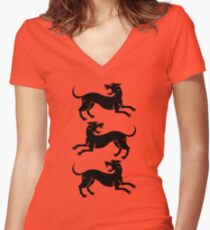 Three Hounds 2 Women's Fitted V-Neck T-Shirt
