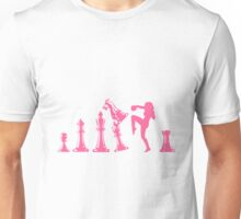 Female Kickboxing Knee Pink Chess  Unisex T-Shirt