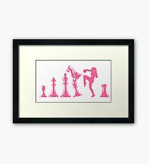 Female Kickboxing Knee Pink Chess  Framed Print