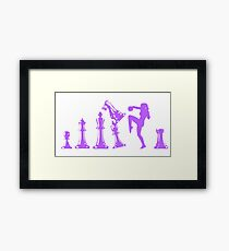 Female Kickboxing Knee Purple Chess  Framed Print