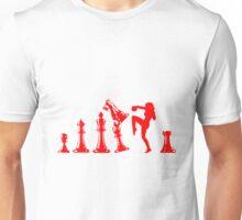 Female Kickboxing Knee Red Chess  Unisex T-Shirt