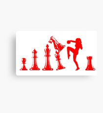 Female Kickboxing Knee Red Chess  Canvas Print