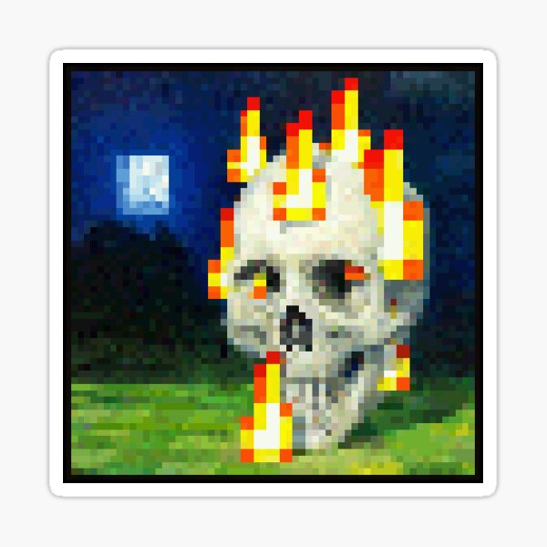 Burning Skull (with black borders) Sticker Sticker