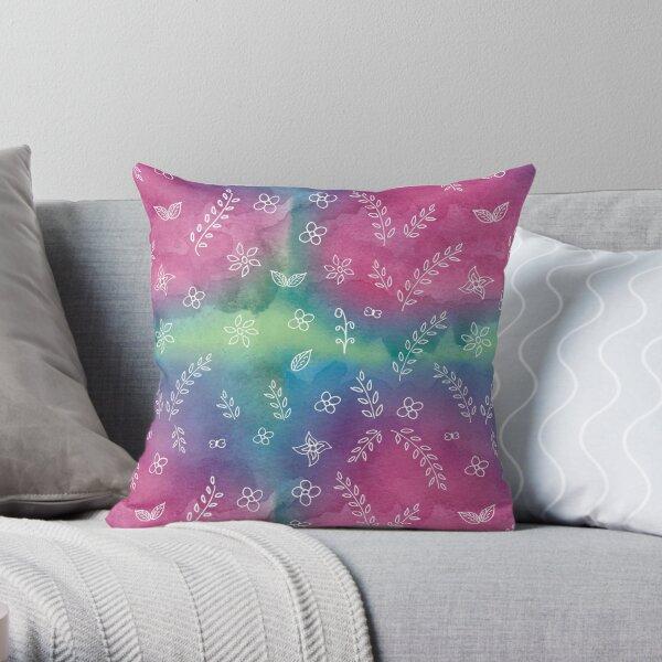 Colorful Print Rainbow Print Floral Cute Illustrations Watercolor Artwork Print Throw Pillow