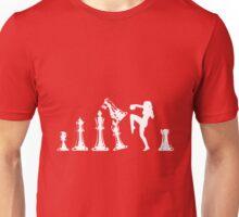 Female Kickboxing Knee White Chess  Unisex T-Shirt