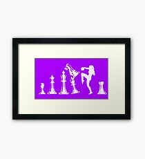 Female Kickboxing Knee White Chess  Framed Print