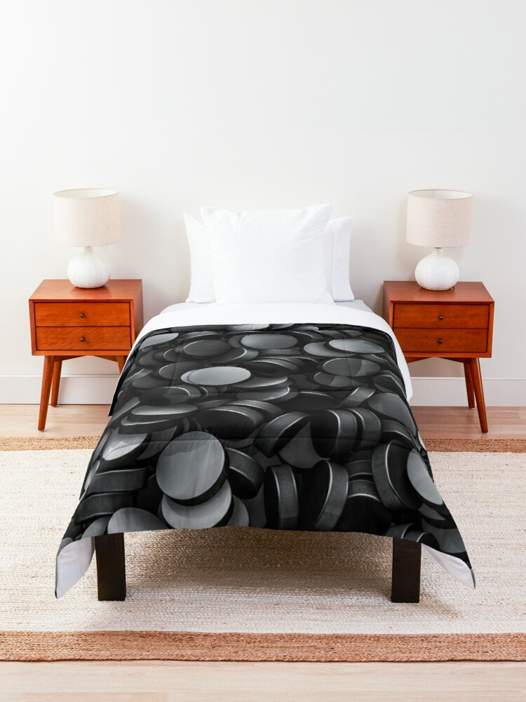 Alternate view of Hockey pucks Comforter