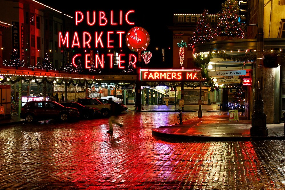 Pikes Place Market at Night by Jeff Greene