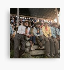 Crow Native Americans watching the rodeo at Crow fair in Montana, 1941 Metal Print