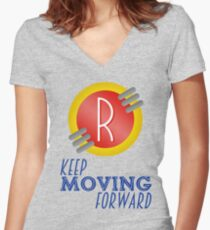 Keep Moving Forward - Meet the Robinsons Women's Fitted V-Neck T-Shirt
