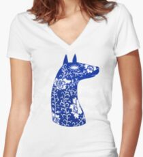 The Water Horse in Blue and White Women's Fitted V-Neck T-Shirt
