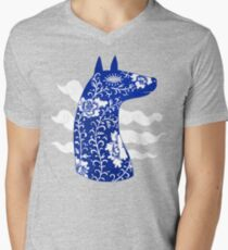 The Water Horse in Blue and White Mens V-Neck T-Shirt