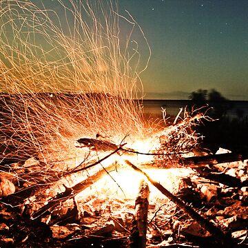 Campfire - Long exposure - Lake Huron by bre21ric