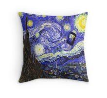 Tardis Starry Night Throw Pillow
