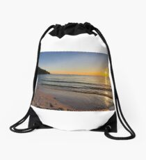 Sunset on Old Silver Beach Drawstring Bag