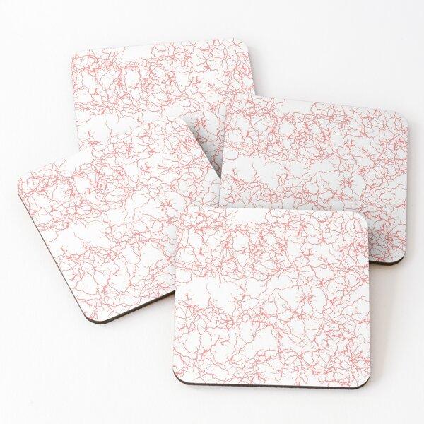 Grana (White/Coral) Coasters (Set of 4)