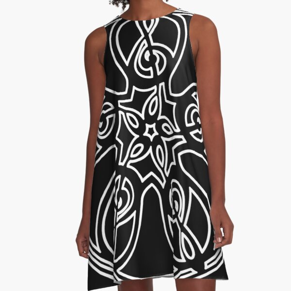 Treble Clef Mandala (white outline) A-Line Dress